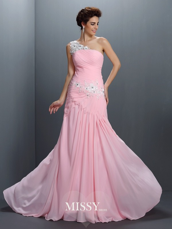 One-Shoulder Princess Beading Applique Floor-Length Chiffon Dresses