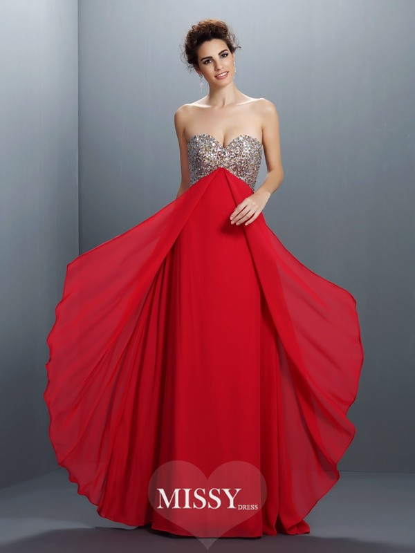 A-Line/Princess Sweetheart Beading Paillette Floor-Length Chiffon Dresses