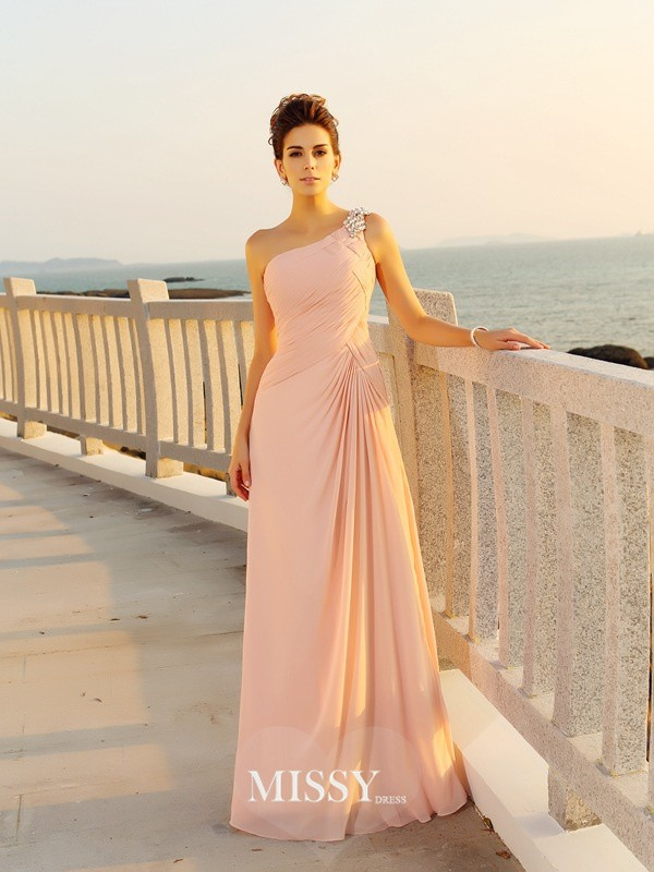A-Line/Princess Chiffon One-Shoulder Floor-Length Beading Dresses