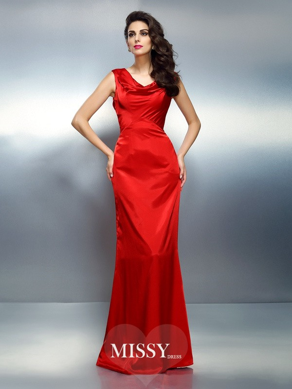 Trumpet/Mermaid V-neck Sleeveless Floor-Length Silk like Satin Gowns