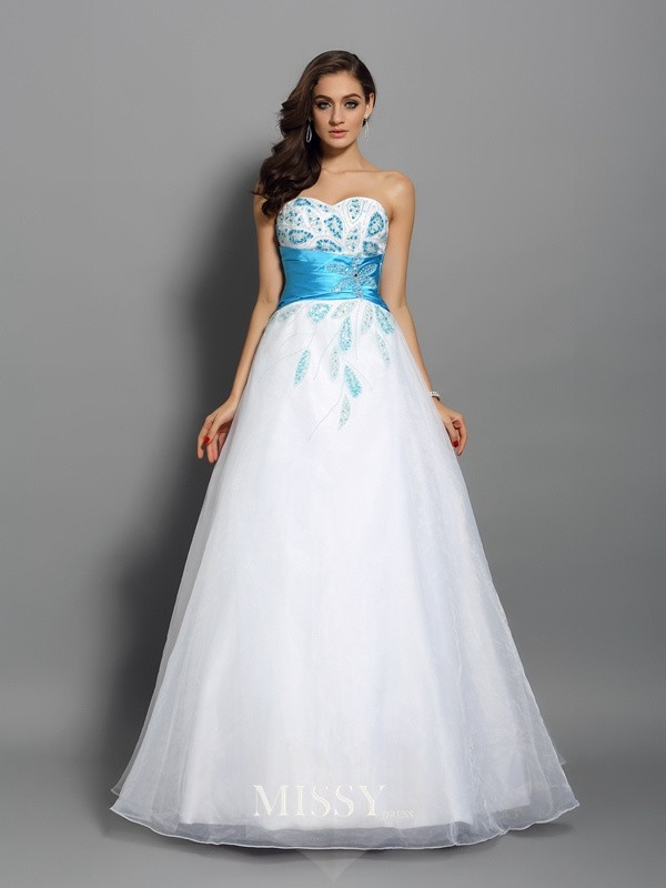 Ball Gown Sweetheart Floor-Length Satin Beading Dresses