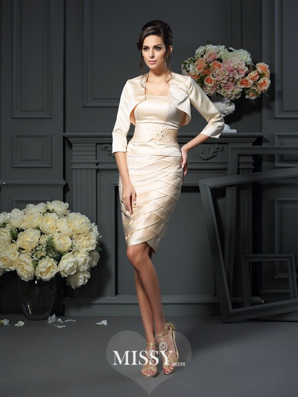 Sheath/Column Strapless Pleats Sleeveless Knee-Length Satin Mother of the Bride Gowns