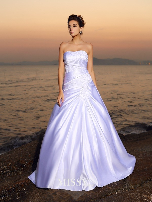 Ball Gown Strapless Satin Applique Beading Court Train Wedding Dresses