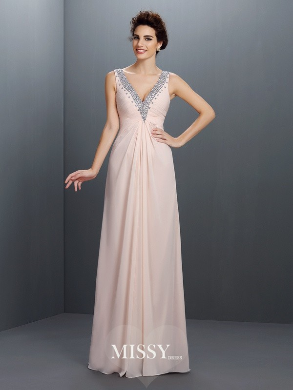 A-Line/Princess V-neck Long Chiffon Dresses