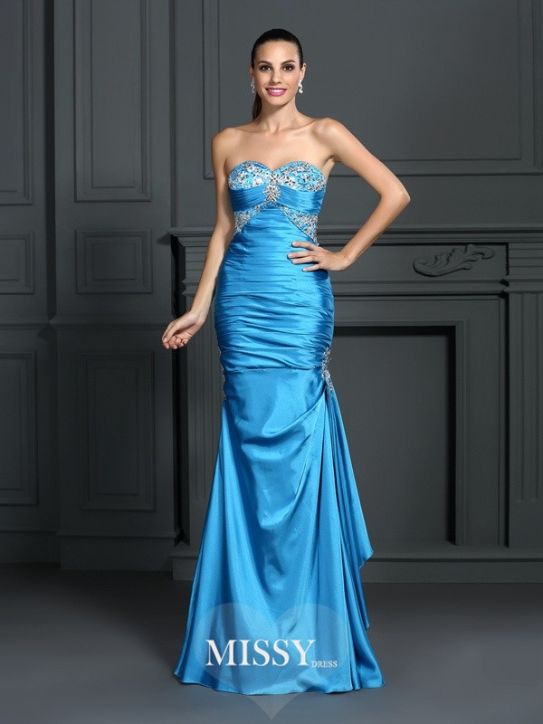 Trumpet/Mermaid Sweetheart Sleeveless Long Elastic Woven Satin Dresses