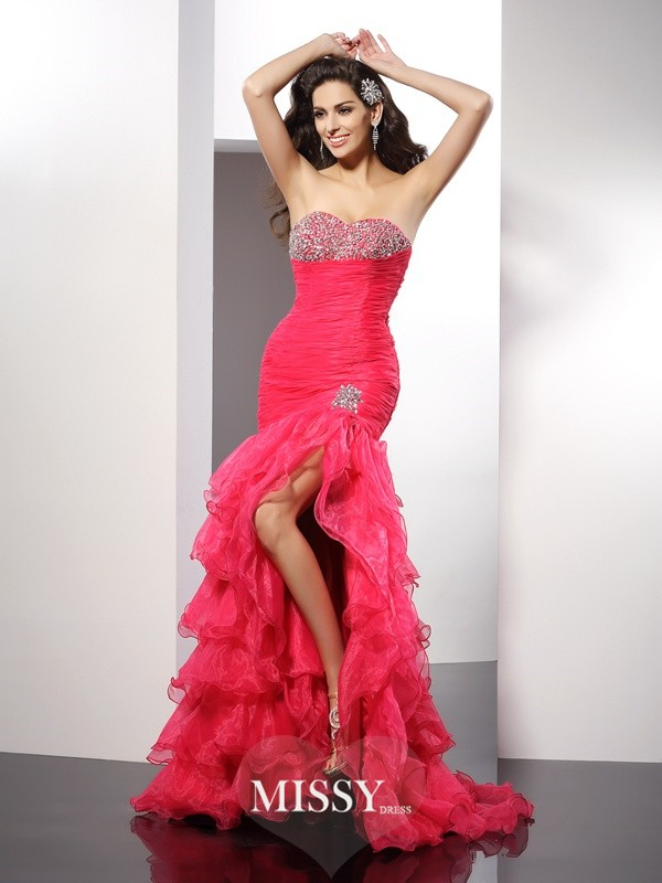 Sheath/Column Sweetheart Beading Sleeveless Floor-Length Organza Gowns