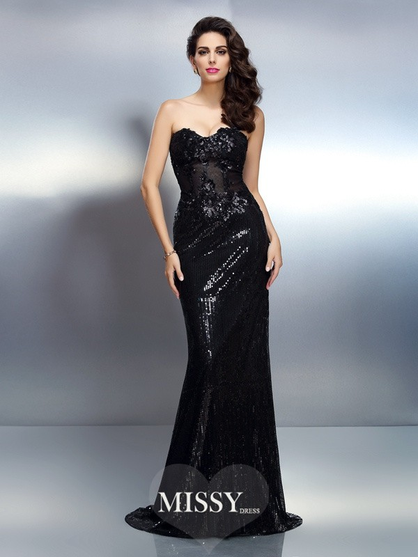 Trumpet/Mermaid Sweetheart Sleeveless Applique Sweep/Brush Train Lace Gowns