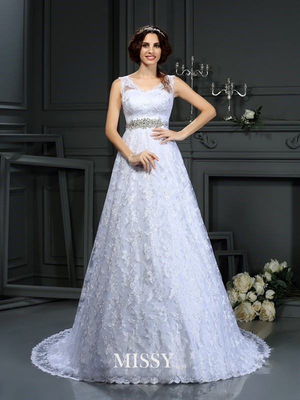 A-Line/Princess V-neck Lace Satin Court Train Wedding Dresses