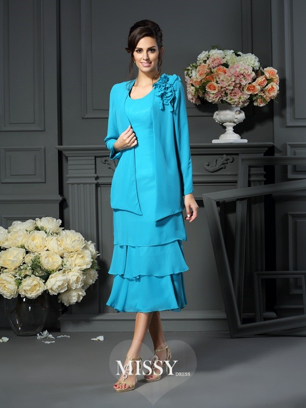A-Line/Princess Sleeveless Scoop Tea-Length Chiffon Mother of the Bride Gowns