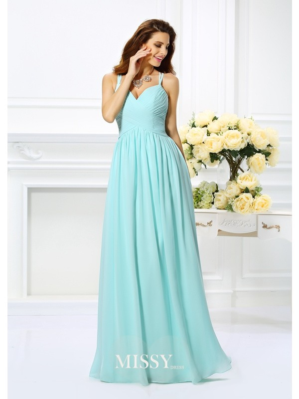 A-Line/Princess Spaghetti Straps Chiffon Pleats Floor-Length Dresses