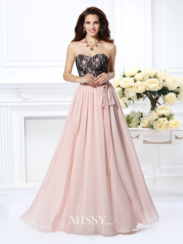 Princess Sweetheart Sleeveless Lace Floor-Length Chiffon Dresses