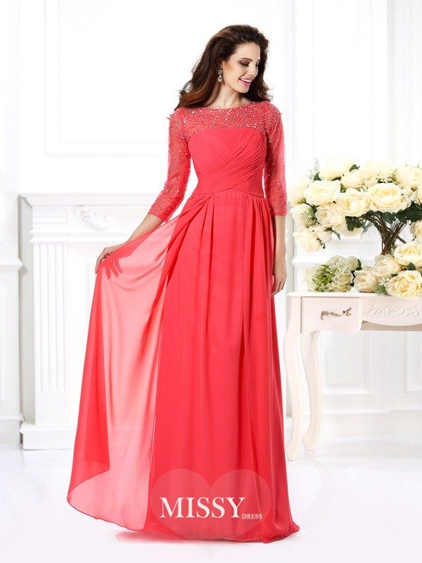 A-Line/Princess Scoop 3/4 Sleeves Beading Floor-Length Chiffon Gowns