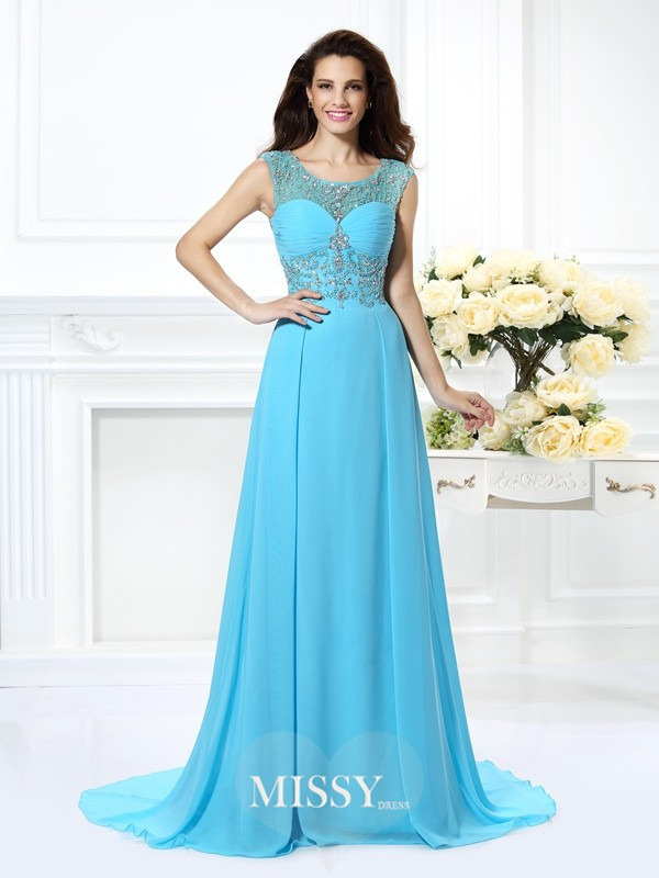 A-Line/Princess Scoop Beading Sweep/Brush Train Chiffon Dresses