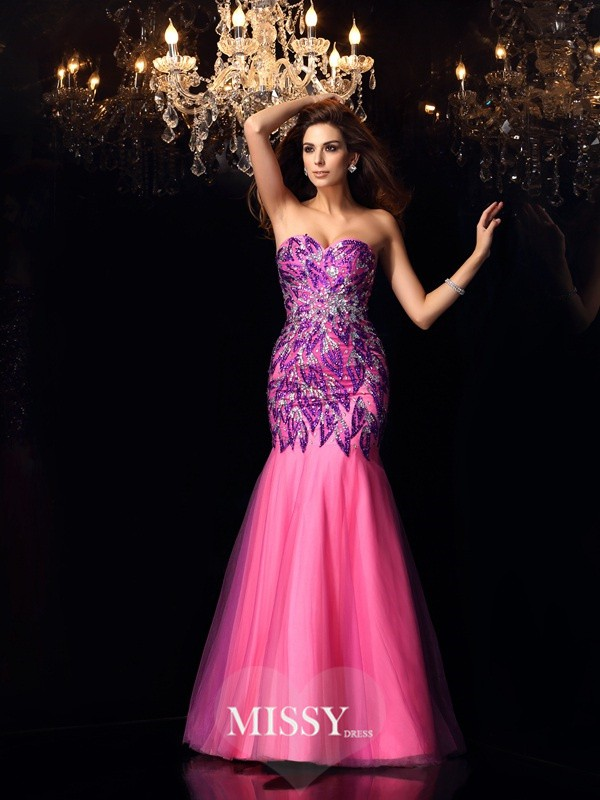 Trumpet/Mermaid Sweetheart Beading Floor-Length Net Dresses