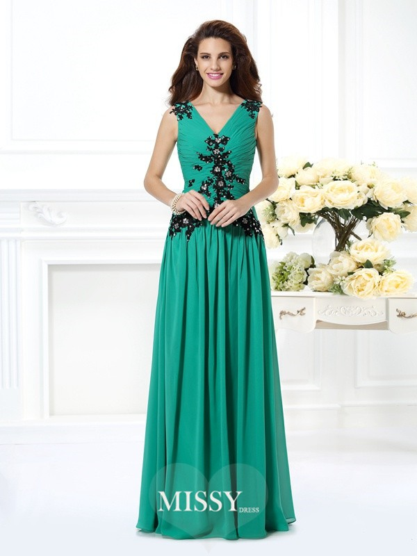 A-Line/Princess V-neck Sleeveless Beading Applique Floor-Length Chiffon Gowns