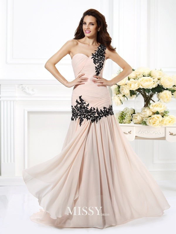 Princess One-Shoulder Sleeveless Beading Applique Floor-Length Chiffon Dresses