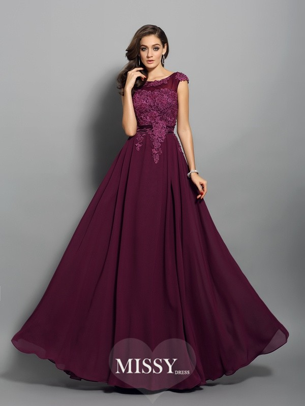 A-Line/Princess Chiffon Scoop Applique Floor-Length Dresses