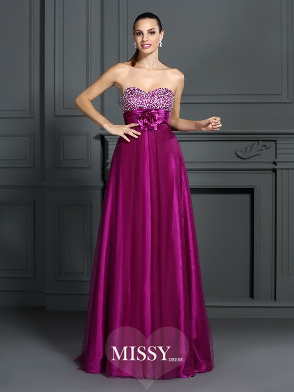 A-Line Sweetheart Sleeveless Hand-Made Flower Floor-Length Elastic Woven Satin Dresses