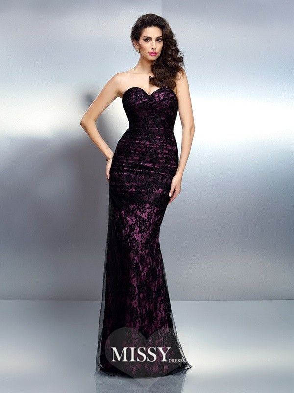 Trumpet/Mermaid Sweetheart Sleeveless Lace Floor-Length Elastic Woven Satin Gowns