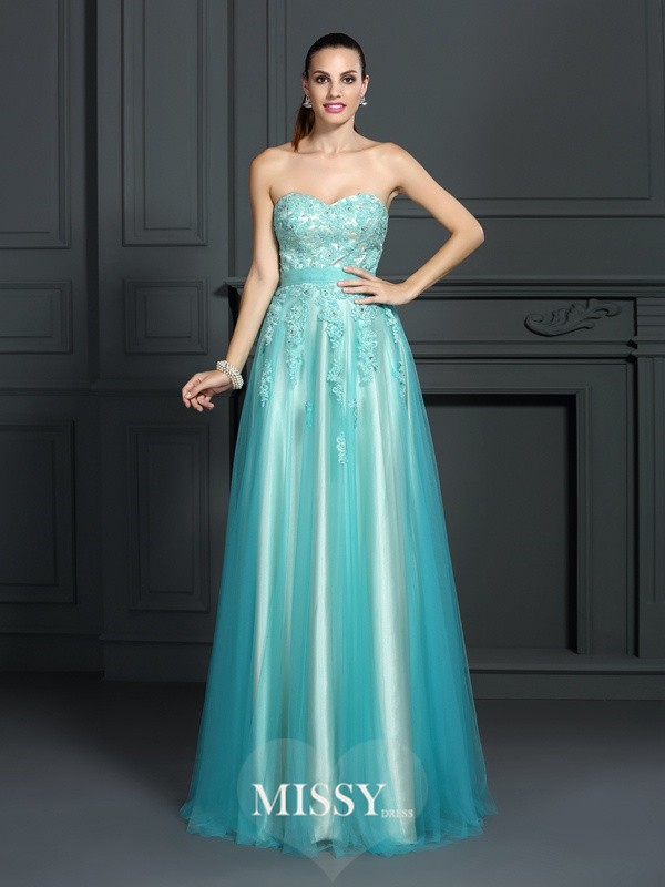 Princess Sweetheart Sleeveless Applique Floor-Length Elastic Woven Satin Dresses