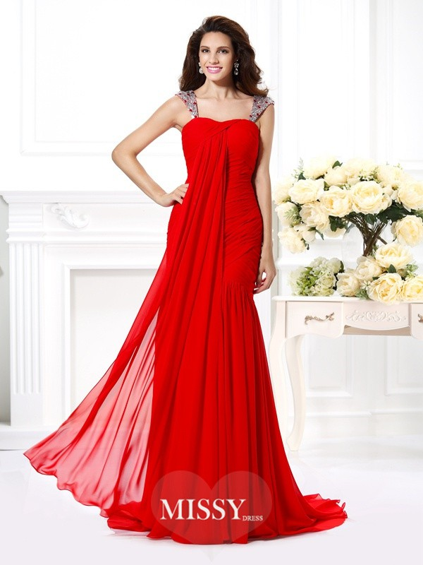 Trumpet/Mermaid Straps Sleeveless Rhinestone Sweep/Brush Train Chiffon Gowns
