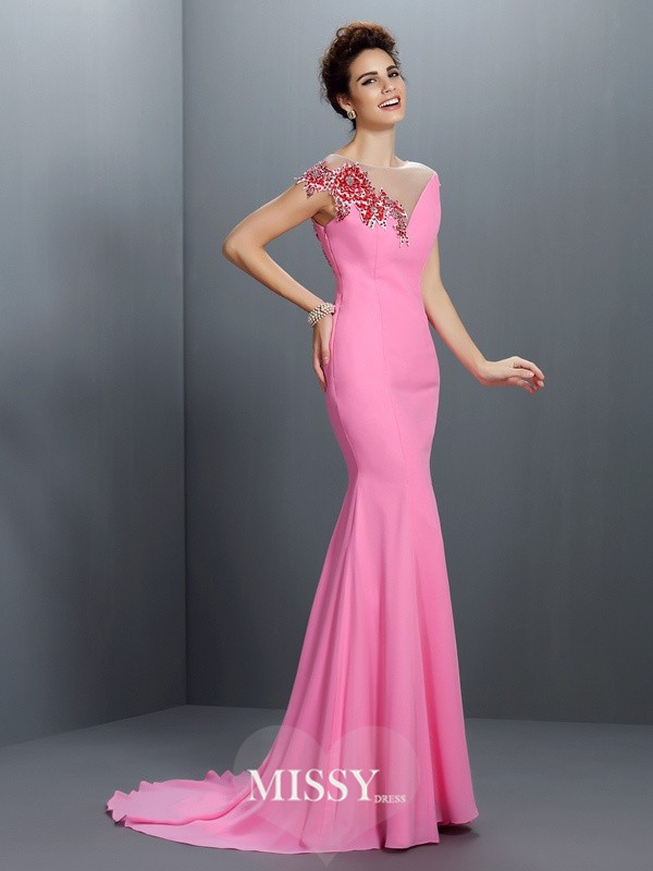 Trumpet/Mermaid Bateau Beading Short Sleeves Sweep/Brush Train Chiffon Gowns