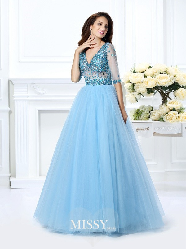 Ball Gown V-neck 1/2 Sleeves Beading Floor-Length Satin Dresses