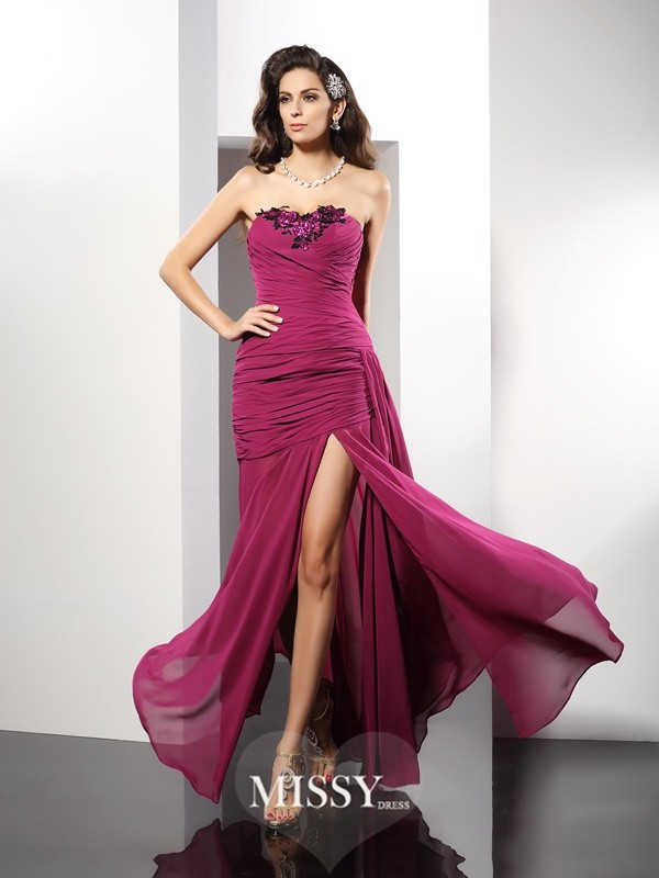 Sheath/Column Strapless Beading Floor-Length Chiffon Dresses