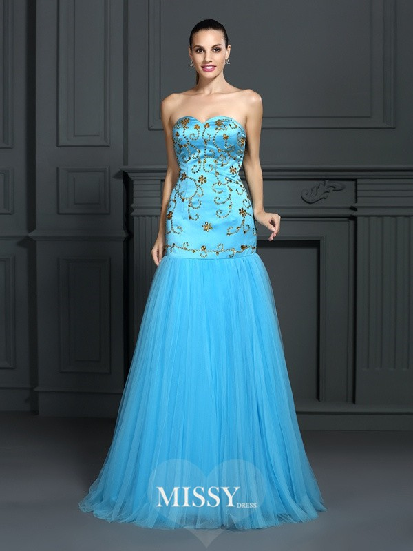 Mermaid Sweetheart Sleeveless Beading Sweep/Brush Train Satin Dresses