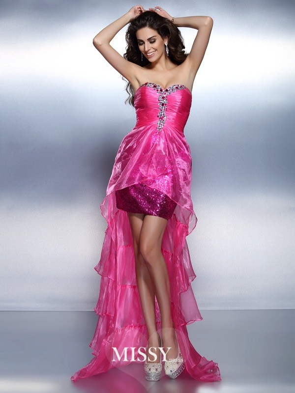 Sheath/Column Sweetheart Sleeveless Beading Rhinestone Asymmetrical Organza Dress