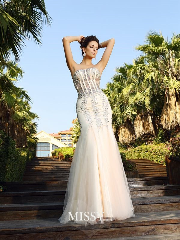 Trumpet/Mermaid Beading Strapless Floor-Length Satin Dresses