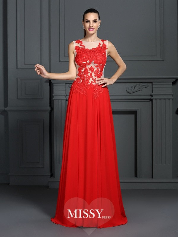 A-Line/Princess Bateau Applique Sweep/Brush Train Chiffon Dresses
