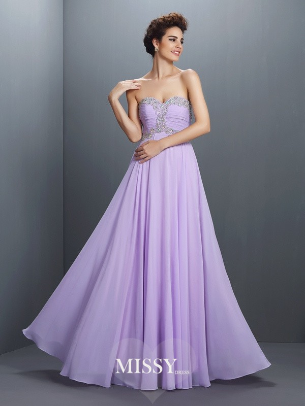 Sweetheart Beading Long Chiffon Dress