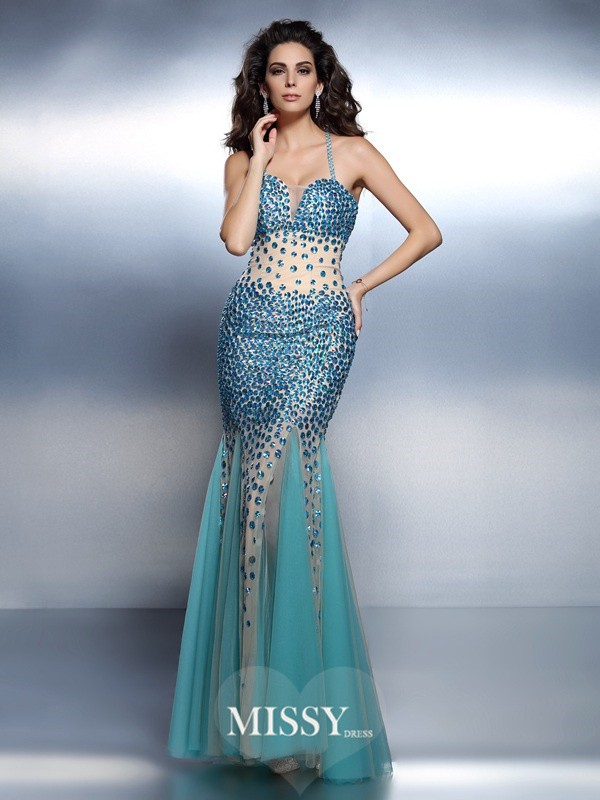 Mermaid Spaghetti Straps Sleeveless Rhinestone Floor-Length Satin Dresses