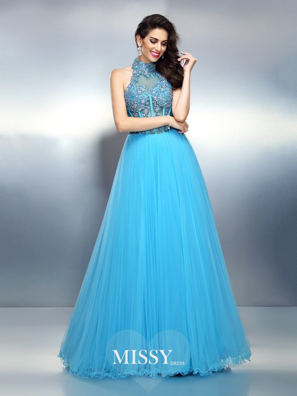 A-Line/Princess High Neck Sleeveless Beading Floor-Length Satin Gowns