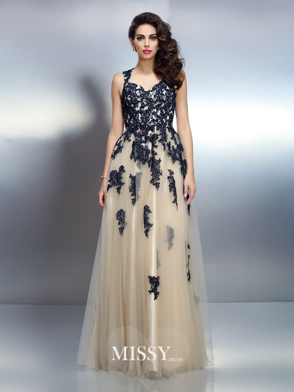 A-Line/Princess Straps Applique Floor-Length Elastic Woven Satin Dresses