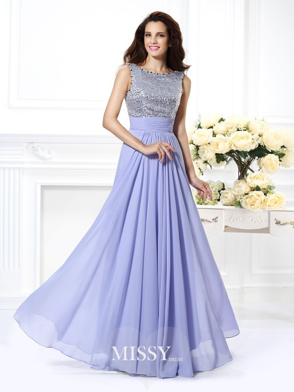 A-Line/Princess Bateau Lace Paillette Floor-Length Chiffon Dresses