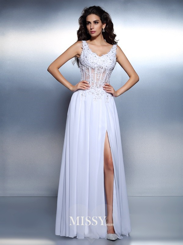 Princess Scoop Sleeveless Applique Floor-Length Chiffon Dresses
