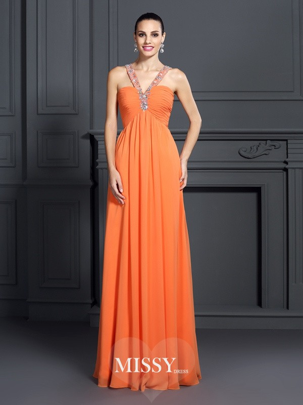 Princess Halter Sleeveless Beading Floor-Length Chiffon Dresses