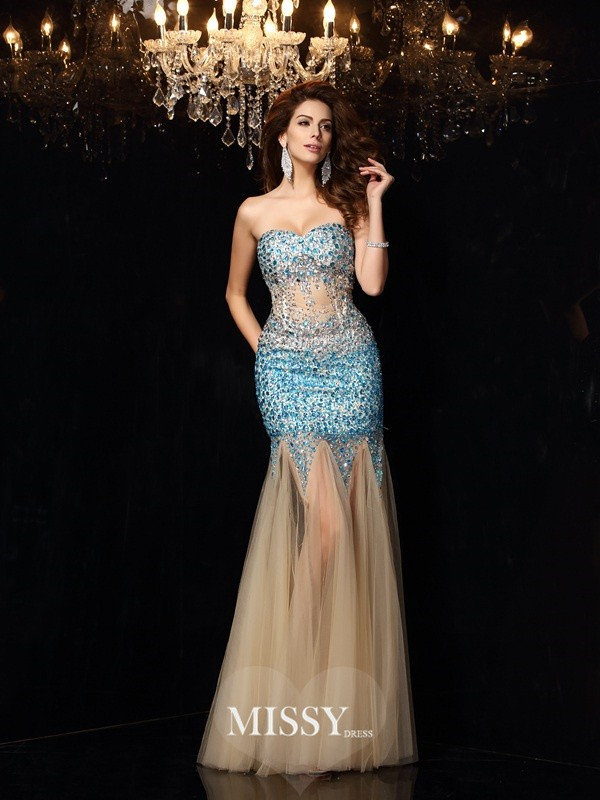 Sheath/Column Sweetheart Beading Floor-Length Net Dresses