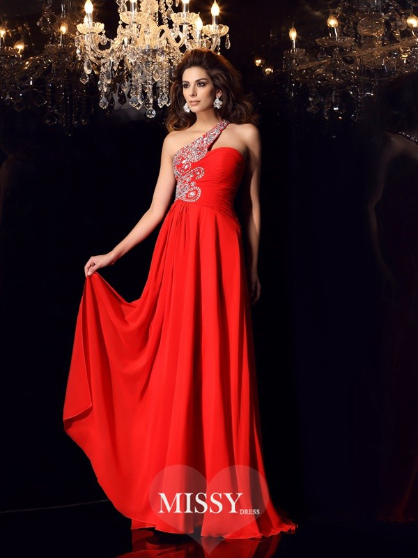 A-Line/Princess One-Shoulder Chiffon Sweep/Brush Train Beading Dresses