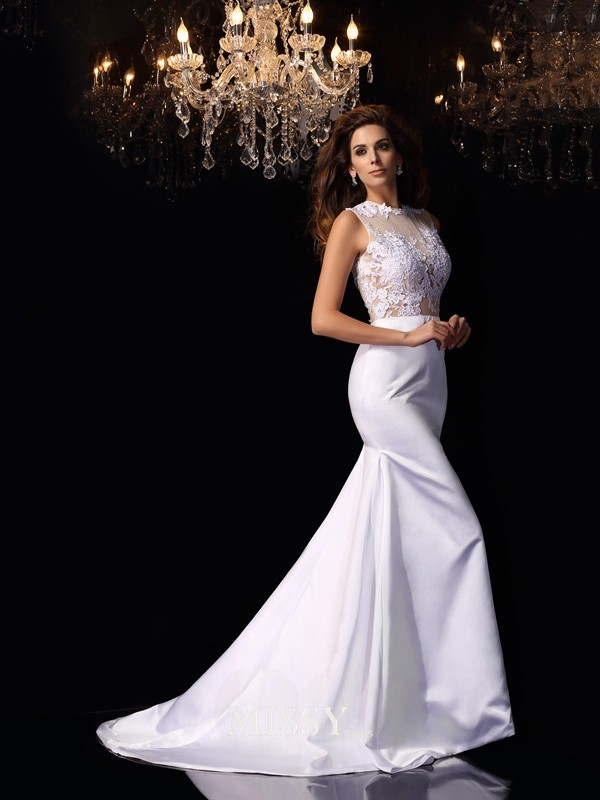 Trumpet/Mermaid High Neck Satin Applique Chapel Train Wedding Dresses