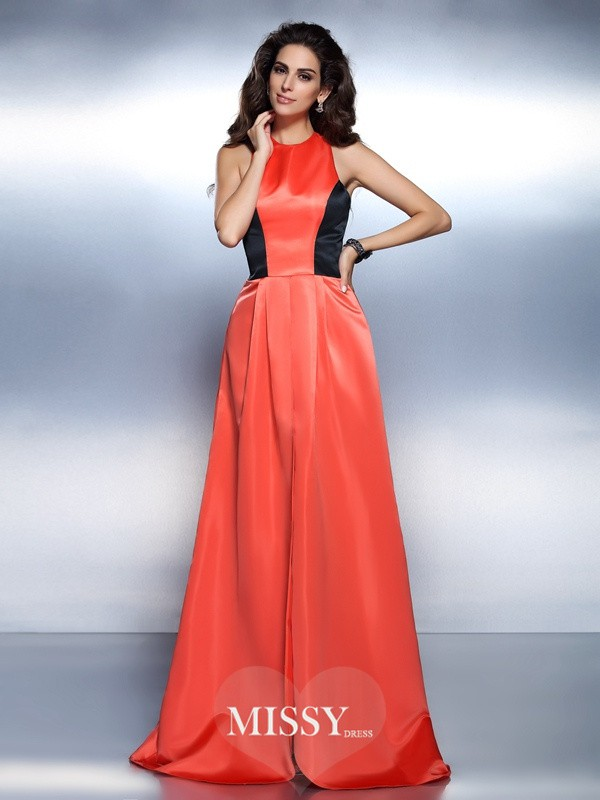 A-Line High Neck Sleeveless Floor-Length Satin Dresses