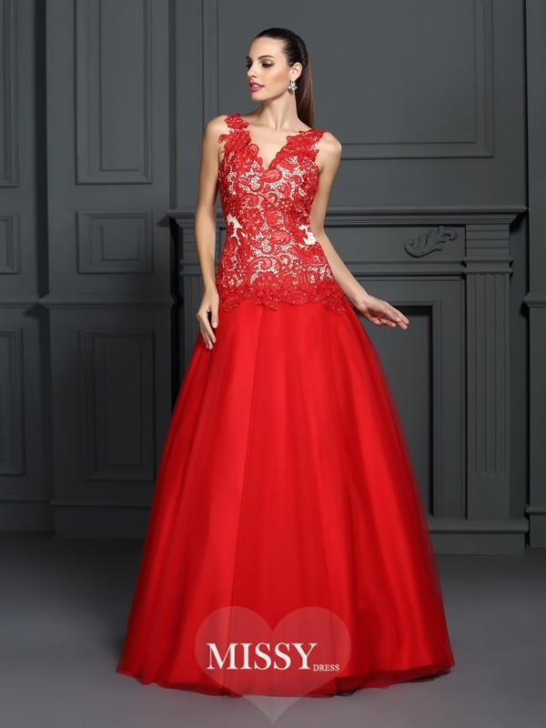 Ball Gown V-neck Lace Floor-Length Lace Dresses