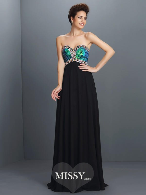 A-Line Sweetheart Sleeveless Paillette Floor-Length Chiffon Dresses