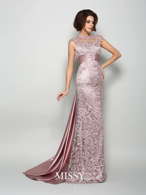 A-Line/Princess Sleeveless Elastic Woven Satin High Neck Court Train Mother of the Bride Gowns