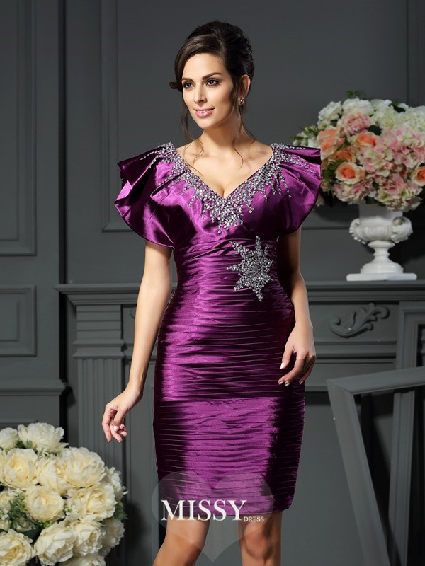 Sheath/Column V-neck Beading Sleeveless Short/Mini Elastic Woven Satin Mother of the Bride Gowns