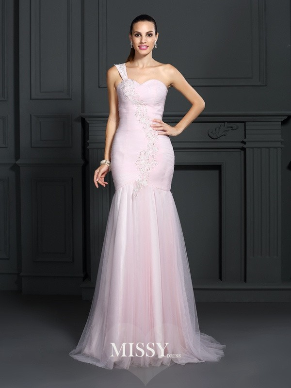 Mermaid One-Shoulder Sleeveless Sweep/Brush Train Satin Dresses