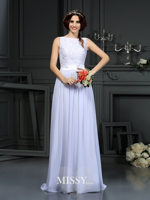 A-Line/Princess Scoop Lace Chiffon Floor-Length Wedding Dresses