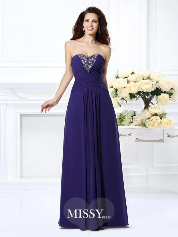 A-Line Sweetheart Long Chiffon Dresses